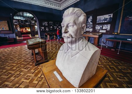 Gori Georgia - April 23 2015. Bust of Stalin in Museum of Joseph Stalin in his hometown - Gori