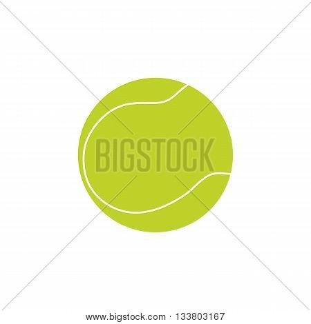 Tennis ball on white background. Picture style flat