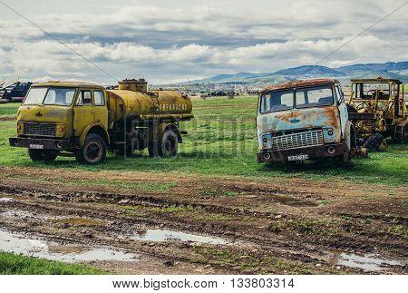 Georgia - April 24 2015. Old Belorussian Minsk Automobile Plant MAZ trucks
