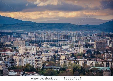 Tbilisi Georgia - April 24 2015. Aerial view on Tbilisi