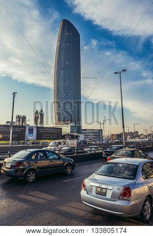 Amman Jordan - December 23 2015. View on modern Amman Rotana Hotel Tower in capital of Jordan