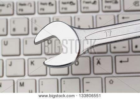 tool on computer keyboard