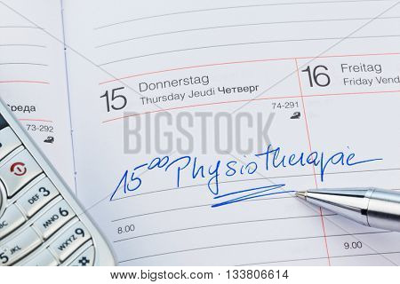 entry to the calendar: physiotherapy
