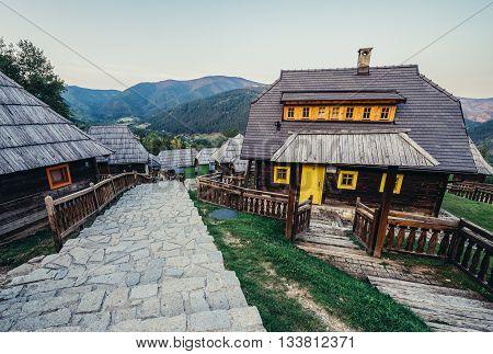 Drvengrad Serbia - August 28 2015. Guest houses in Drvengrad village built by Emir Kusturica