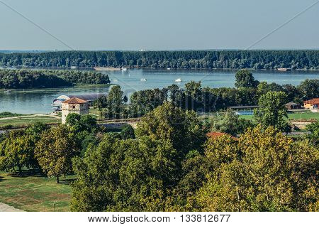 Belgrade Serbia - August 29 2015. Danube River and Great War Island seen from Belgrade Fortress
