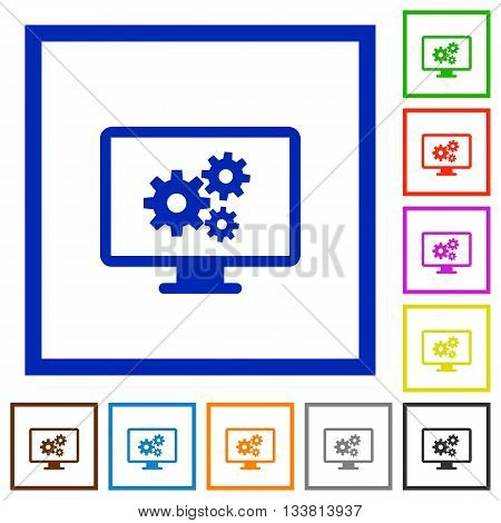 Set of color square framed Screen settings flat icons