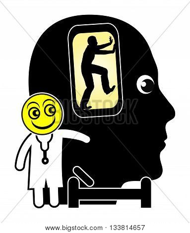 Cell Phone Addiction Treatment. Patient addicted to smart phones is getting treated by psychiatrist