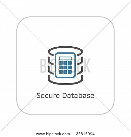 Secure Database Icon. Flat Design. Business Concept Isolated Illustration.