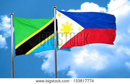 Tanzanian flag with Philippines flag, 3D rendering