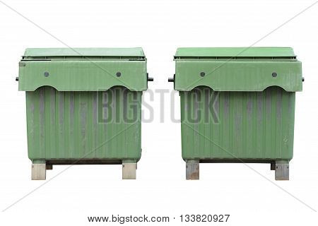 image of green dumpsters isolated on white background
