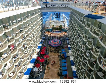 Barselona, Spaine - September, 6 2015: Royal Caribbean, Allure of the Seas sailing from Barselona on September 6 2015. The second largest passenger ship constructed behind sister ship Oasis of the Seas.