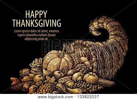 Happy Thanksgiving. Horn of plenty. Cornucopia with fruits, vegetables