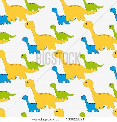 Vector illustration. Seamless pattern with silhouettes of dinosaurs. Near the large Brachiosaurus are several small dinosaurs.