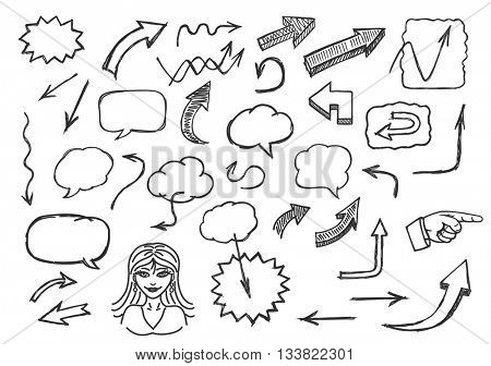 Hand drawn arrows and speech bubbles