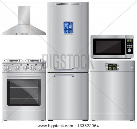 Appliances. Set of household appliances. Refrigerator stove dishwasher microwave extractor hood. Kitchen hood. Gaz cooker. Vector image.