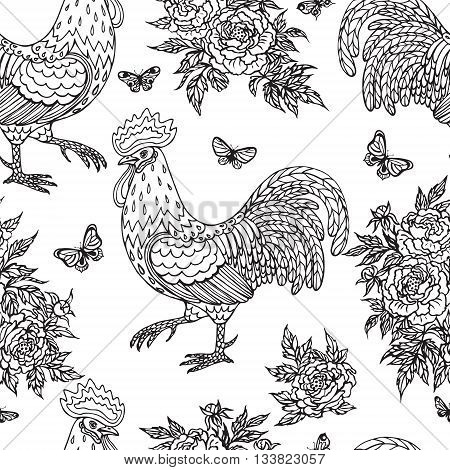 Hand drawn contoured rooster flying butterflies and peony flowers on white background. Monochrome childlike illustration. Black and white color seamless pattern.