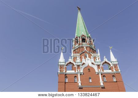 MOSCOW - JUNE 04 2016 : Kremlin chiming clock of the Spasskaya Tower. Moscow. Russia