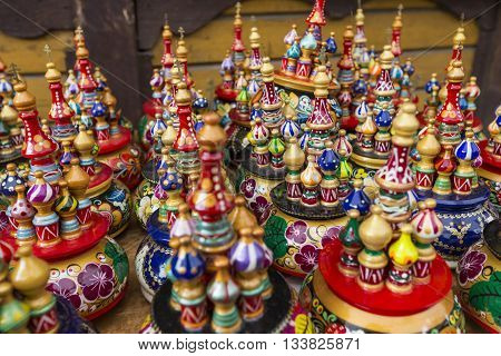 Moscow - June 04: Very Large Selection Of Matryoshkas Russian Souvenirs At The Gift Shop On June 04,
