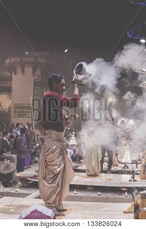 Varanasi, India - January 26: An Unidentified Hindu Priest Conducts Religious Ganga Aarti Ritual (fi