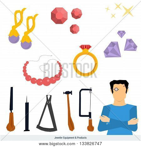 Vector icons set of jeweler equipment and products. Man in magnifying glasses. Around him the tools - a hammer compass rasp saw and jewelry - ring with stone earrings bead gems. Flat style