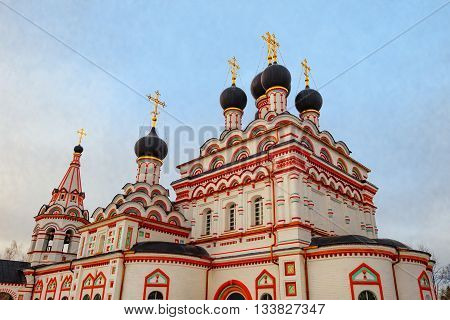 Architecture and exterior of the old Orthodox church at the monastery. Arkature belt.