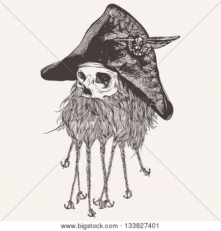 vector illustration of pirate skull with beard
