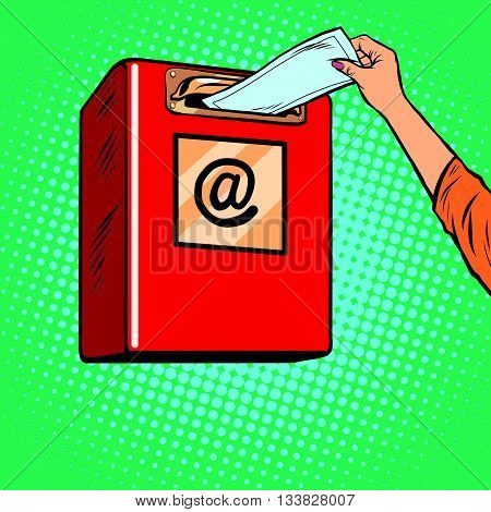 Sending paper letters Inbox pop art retro vector. Icon send e-mails.