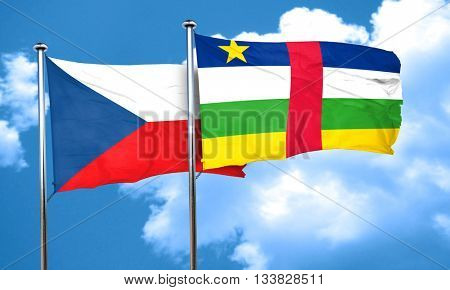 czechoslovakia flag with Central African Republic flag, 3D rende
