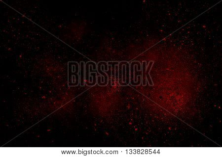 Red Abstract Powder Explosion On A Black Background