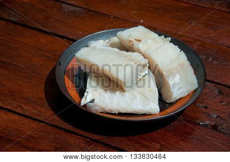 pieces of codfish put nel'acqua ready to be cooked