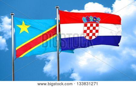 Democratic republic of the congo flag with Croatia flag, 3D rend