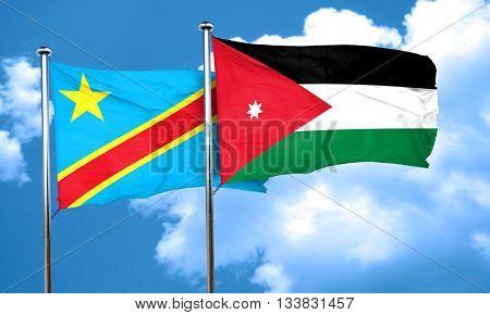 Democratic republic of the congo flag with Jordan flag, 3D rende