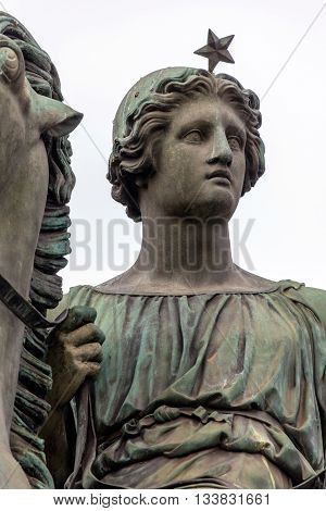 Bronze equestrian statue of Pollux one of the Greek and Roman mythological Dioscuri twins in front of the Royal Palace in Turin Italy sculpted in 1841 by Abbondio Sangiorgio