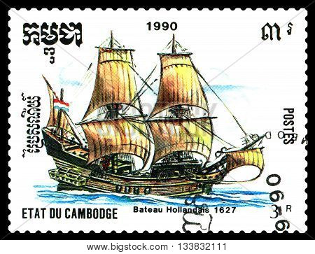 STAVROPOL RUSSIA - MAY 29 2016: a stamp printed by Cambodia shows old Dutch ship 1627 circa 1990 .