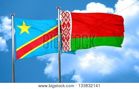 Democratic republic of the congo flag with Belarus flag, 3D rend