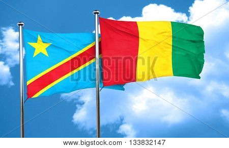 Democratic republic of the congo flag with Guinea flag, 3D rende
