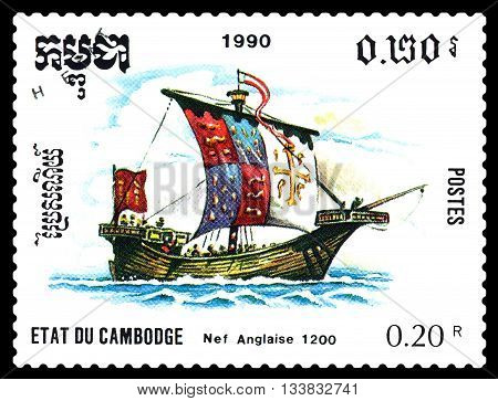 STAVROPOL RUSSIA - MAY 29 2016: a stamp printed by Cambodia shows old English ship 1200 circa 1990 .