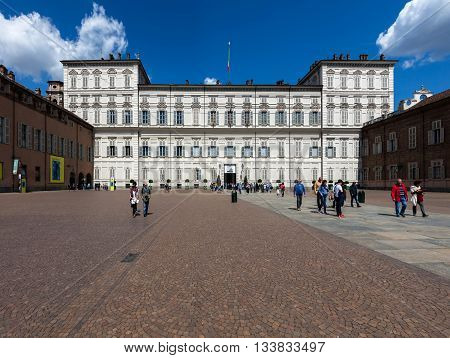 TURIN ITALY - APRIL 24 2016: Royal Palace of Turin originally built in the 16th century is a historic Baroque palace of the House of Savoy in the city of Turin in Northern Italy.