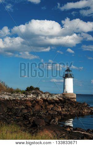 Fort Pickering lighthouse overlooks Salem Harbor in Massachusetts.