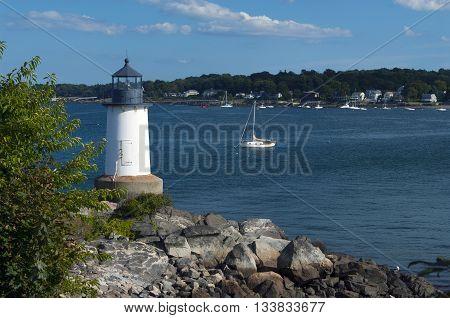 Salem Harbor lighthouse at Fort Pickering on Winter Island in Massachusetts.