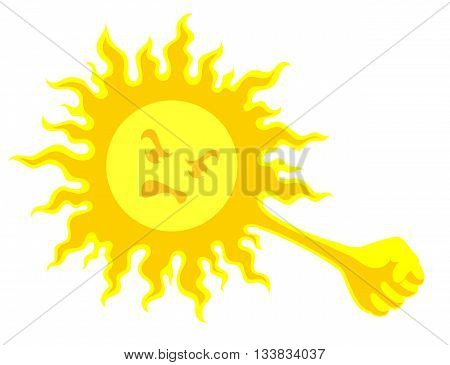 Bright yellow sun with wrathful face had prepared fist for strike, on white background. Risk of sunstroke and heat stroke at hot season