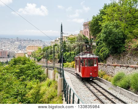 The wagon of an old rack railway connecting the city center of Genoa with the hill district Granarolo
