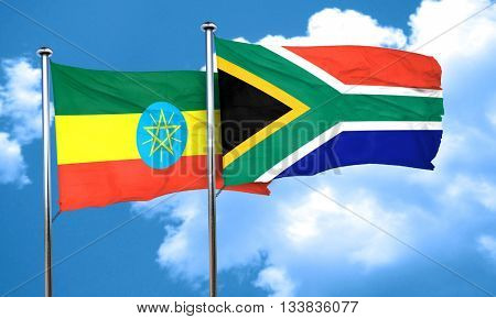 Ethiopia flag with South Africa flag, 3D rendering