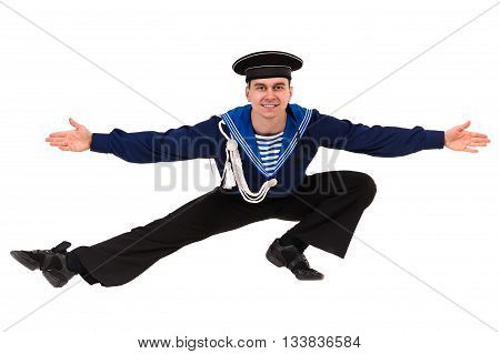 young dancer dressed as a sailor posing. Isolated on white background in full length.