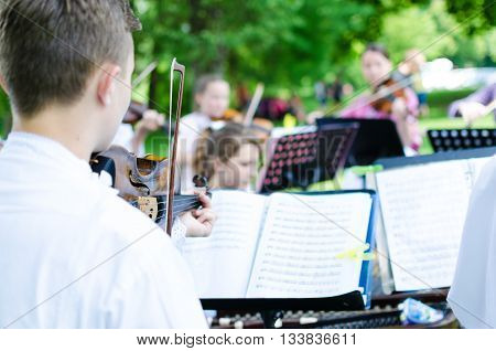 Young musician band playing on wedding day