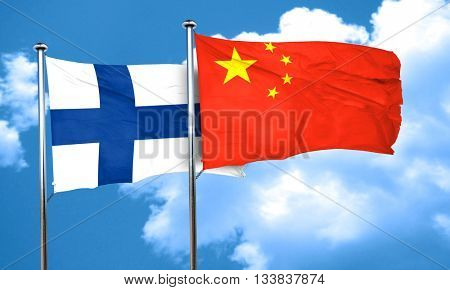 finland flag with China flag, 3D rendering