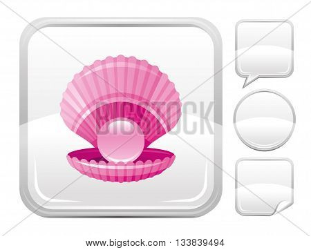 Sea beach and travel icon with scallop shell with pearl on square background and other blank button forms