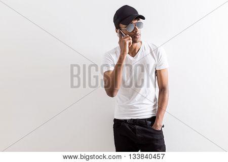 Black Guy Having Phone Conversation