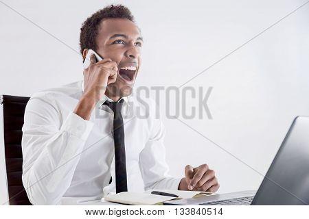 Black Man Shouting On Phone