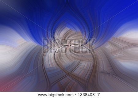 Abstract spiritual psycho fractal with soft blue sky and fog made by multifold hearts